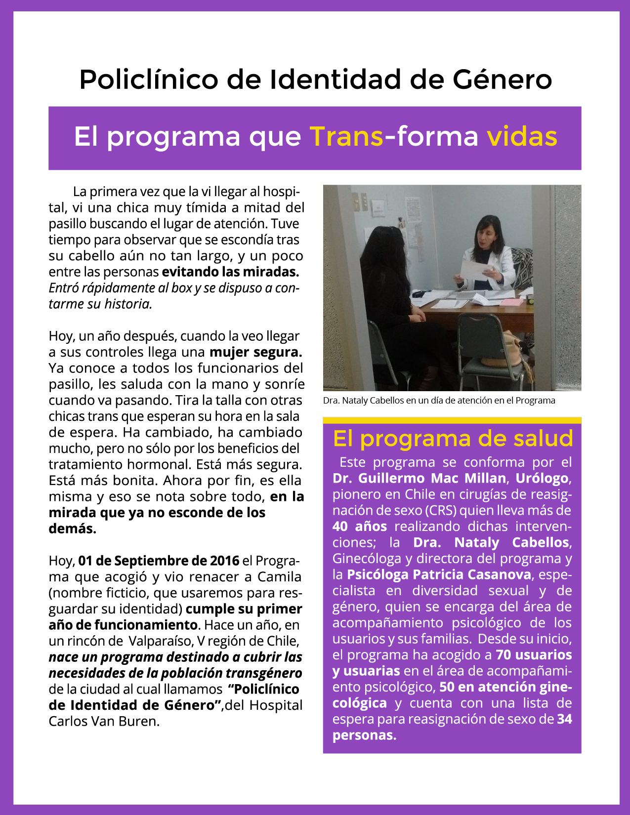 Primer año del Policlínico Trans HCVB